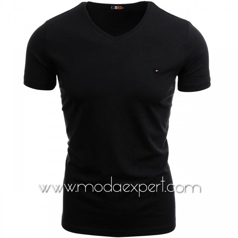 Тениска с V-образно деколте №C7063-B