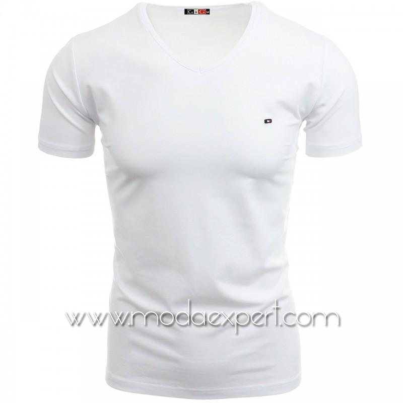 Тениска с V-образно деколте №C7063-W