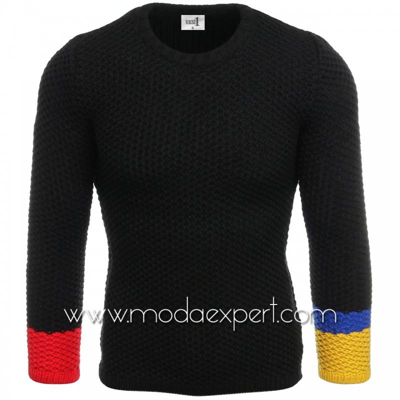 Пуловер с цветни ръкави №E3585-B