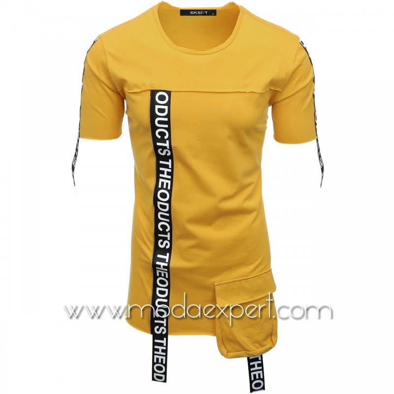 Мъжка тениска с ленти с надписи E007-M