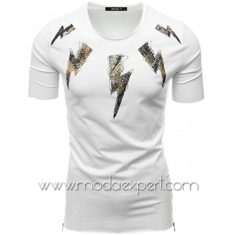 Мъжка тениска с релефна щампа №E022-W