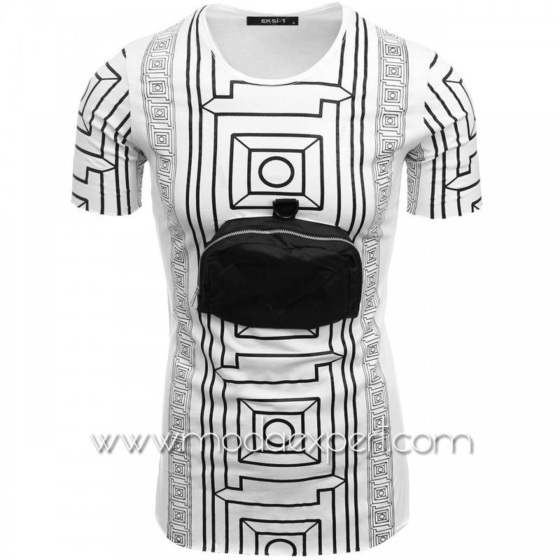 Мъжка тениска с джоб №E099-W