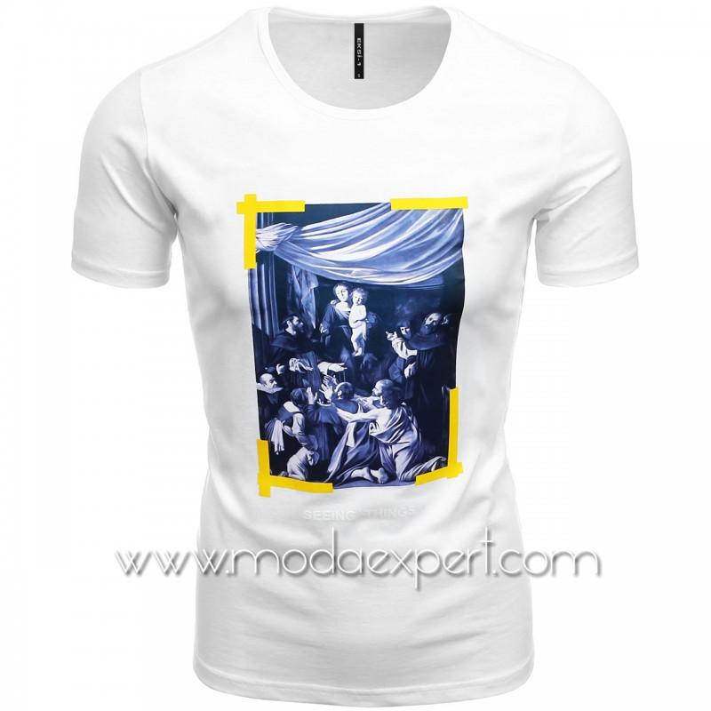 Мъжка тениска с щампа №E190-W