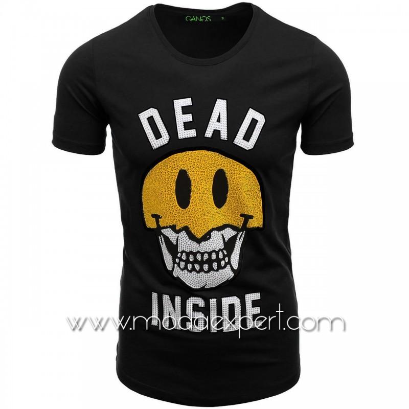Тениска с щампа и камъни №G052-B