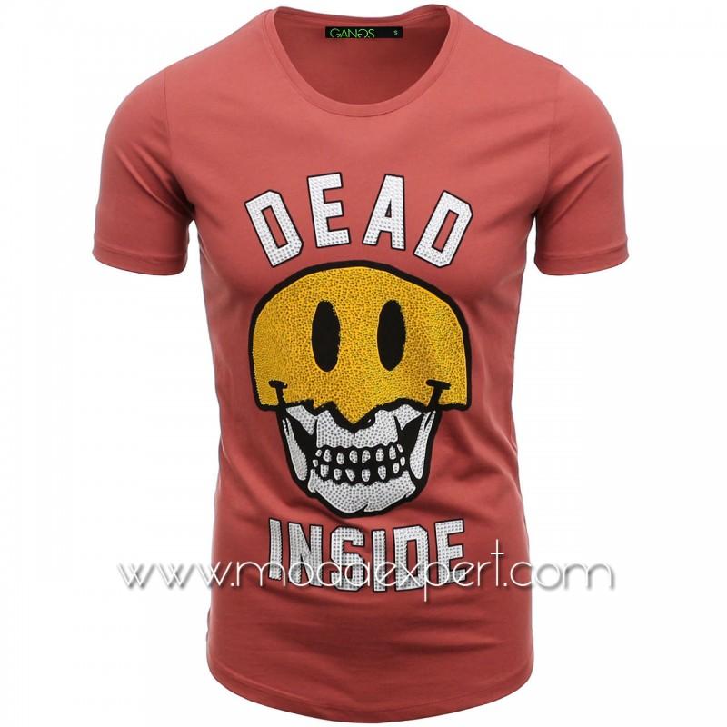Тениска с щампа и камъни №G052-P