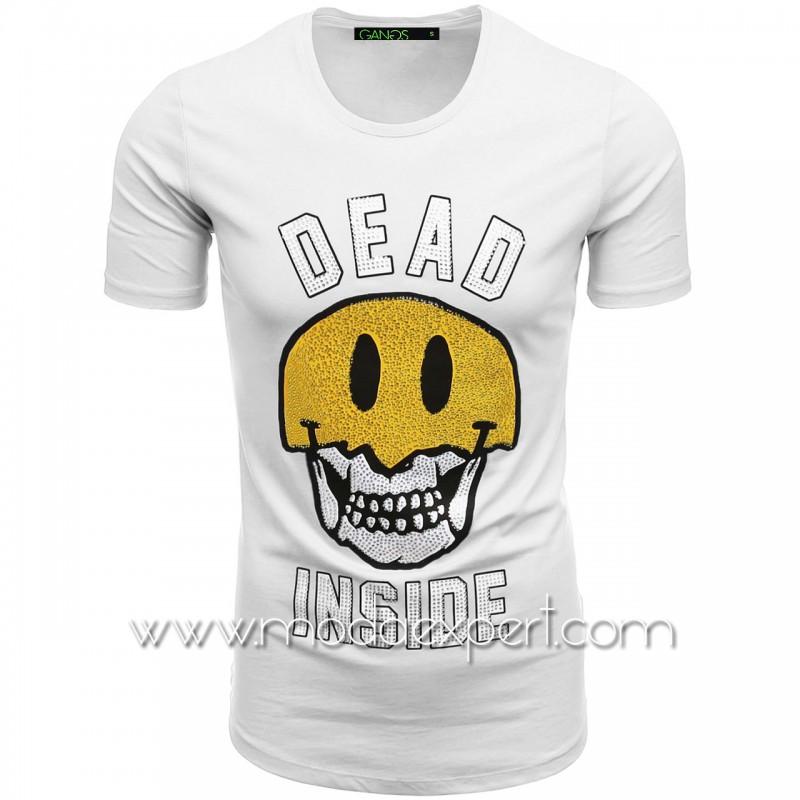 Тениска с щампа и камъни №G052-W