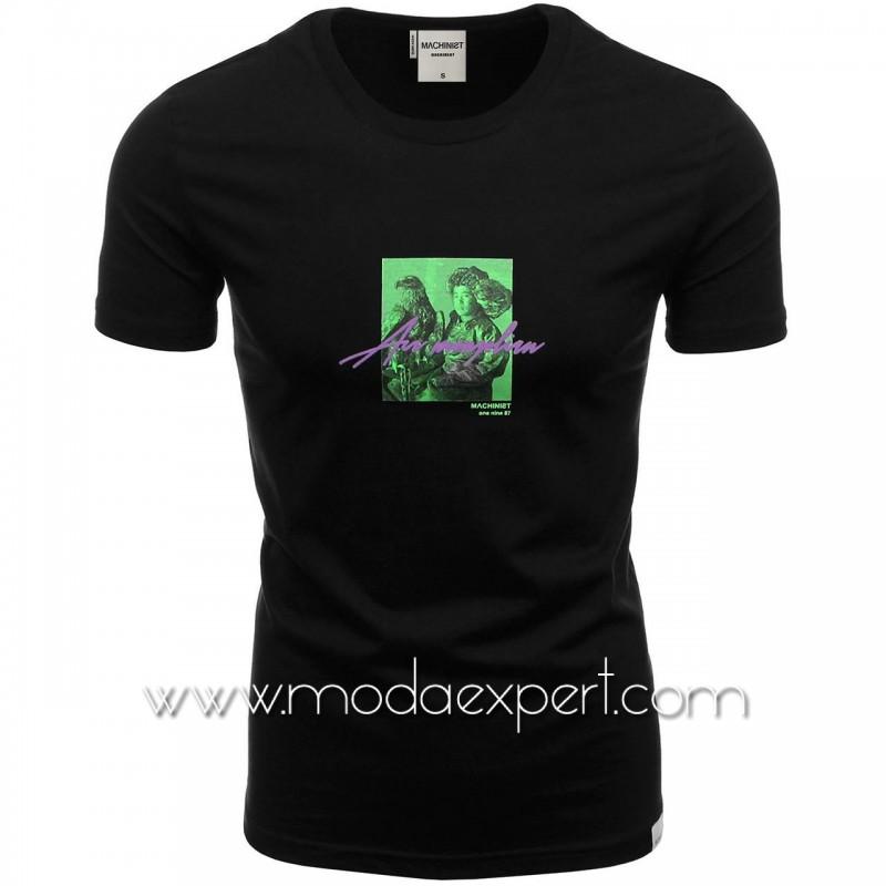 Мъжка тениска с неонова щампа №M1174-B