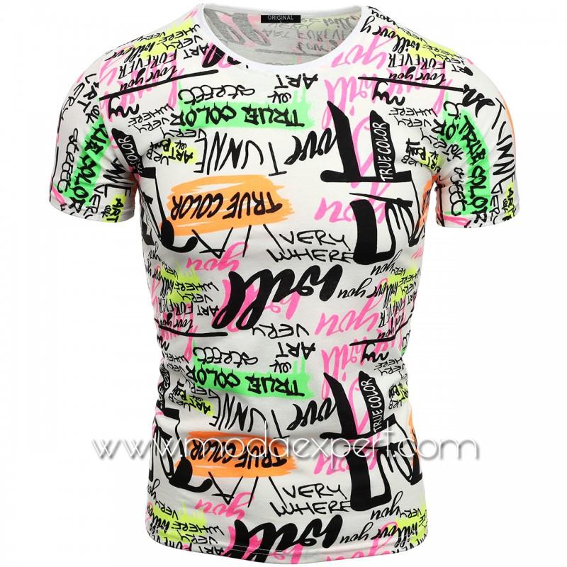 Мъжка тениска с принт V2107