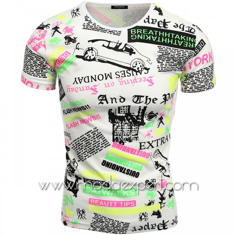 Мъжка тениска с принт V2118
