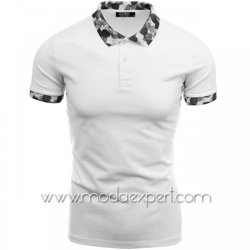 Тениска с флорална яка №Z87-W