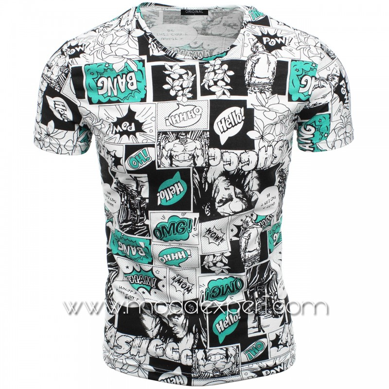 Мъжка тениска с принт V2102