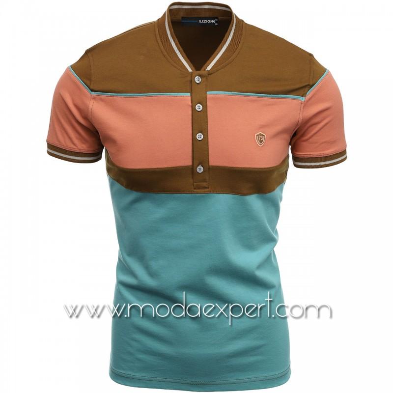 Трицветна тениска с попска яка I21-100BR