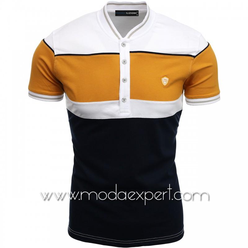 Трицветна тениска с попска яка I21-100W