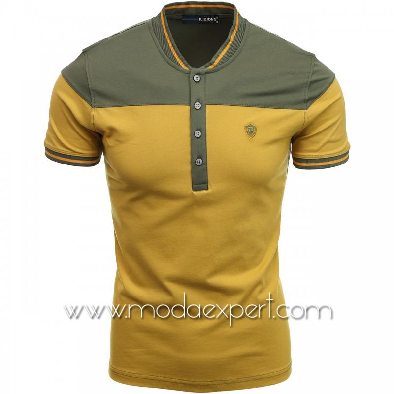 Двуцветна тениска с попска яка I21-101K