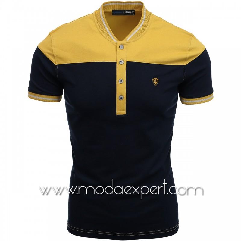 Двуцветна тениска с попска яка I21-101OC