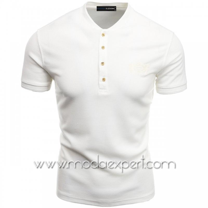 Мъжка тениска с попска яка I21-103W