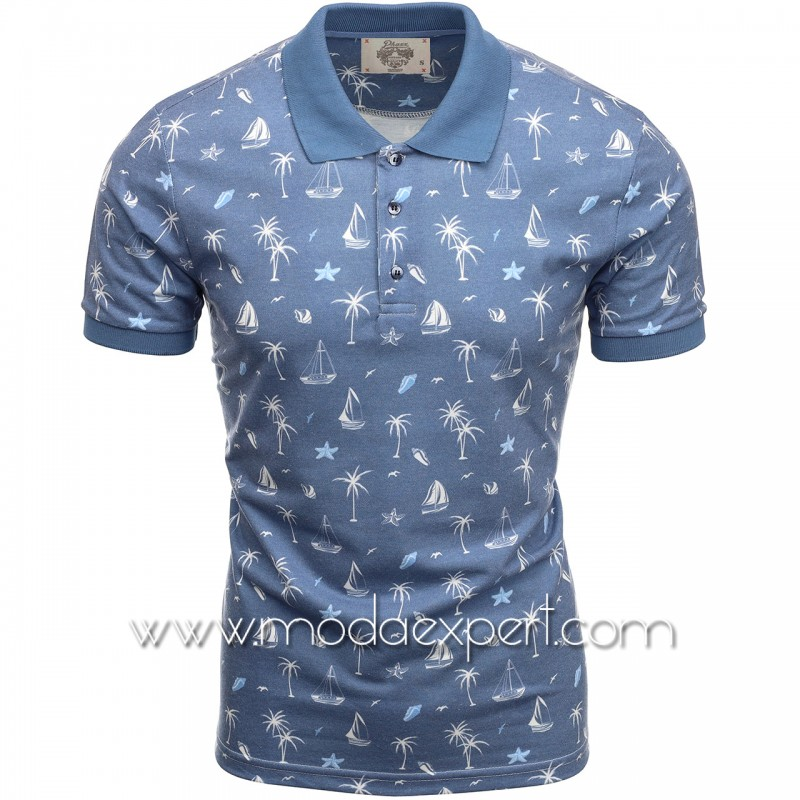 Мъжка тениска с яка P8601BL