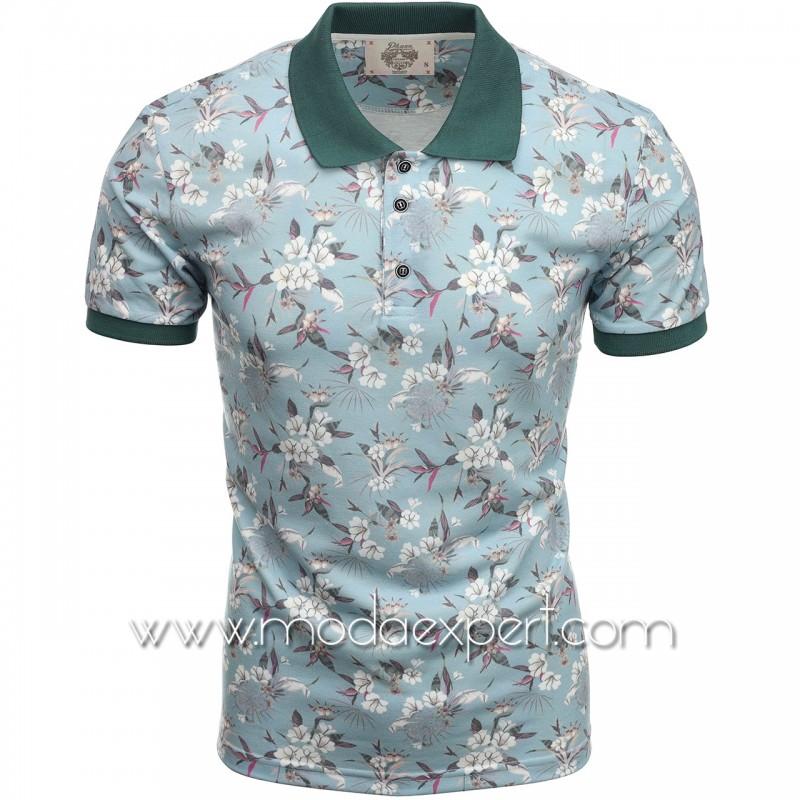 Флорална мъжка тениска P8607LBL