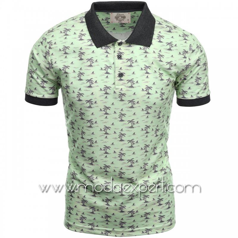 Mъжка тениска с яка P8609LGR