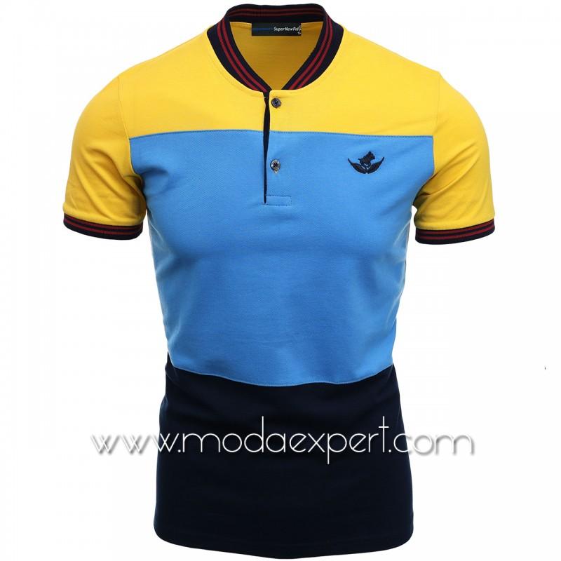 Трицветна тениска с попска яка SN21-105Y