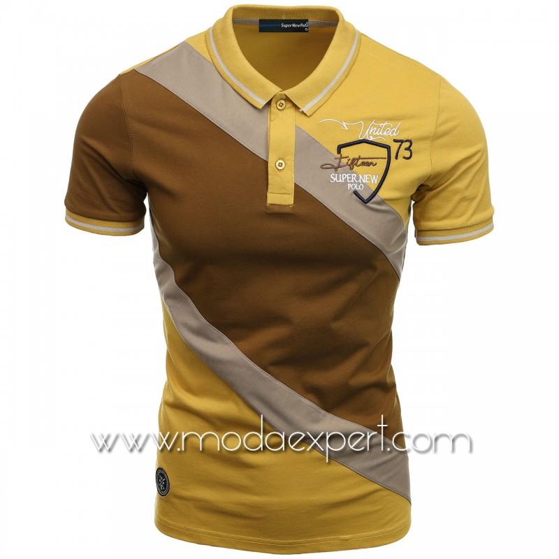 Трицветна тениска с яка SN21-112BR