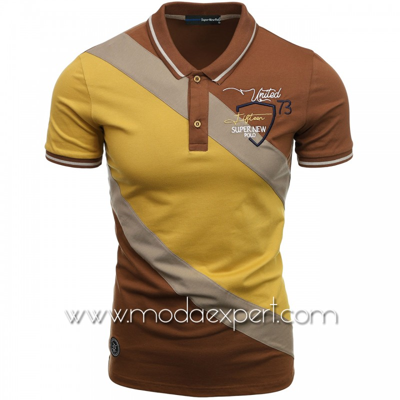 Трицветна тениска с яка SN21-112OC
